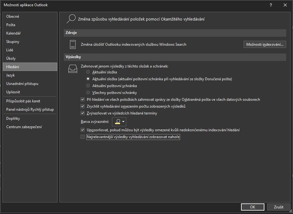 Jak vypnout nejlepší výsledky vyhledávání v Outlooku 5