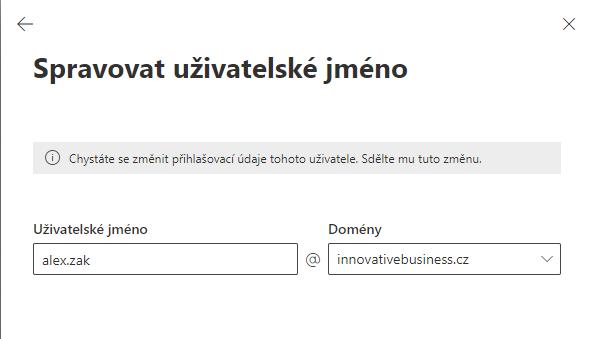 Microsoft 365 Uživatelské jméno jiné než primární alias 3