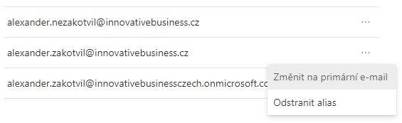 Microsoft 365 Uživatelské jméno jiné než primární alias 7