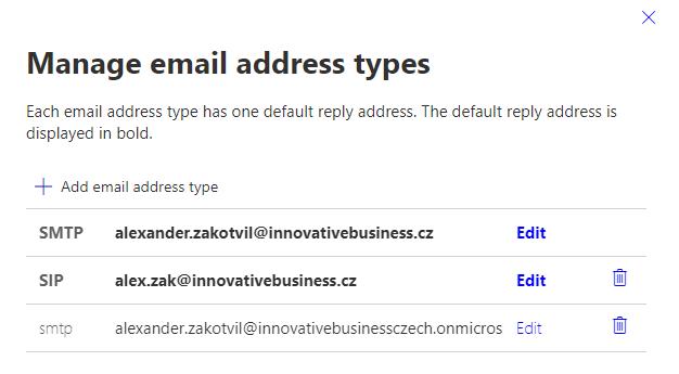 Microsoft 365 Uživatelské jméno jiné než primární alias 11