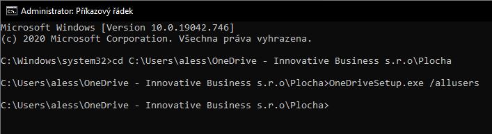 Instalace OneDrive pro všechny uživatele PC (per-machine) 1
