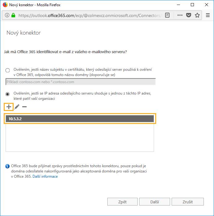 nový konektor exchange ip adresa