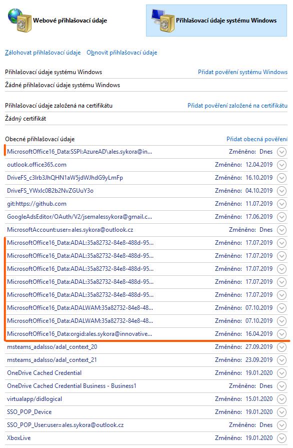 Přihlašovací údaje Office 365 ve Widnows 10