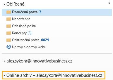 online archiv v outlooku na pc