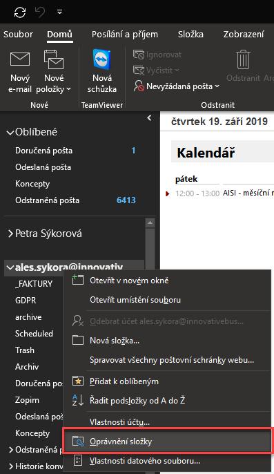 Oprávnění složky v Outlooku