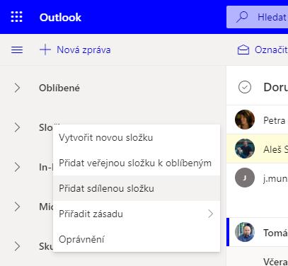 Outlook web app přidání delegované složky
