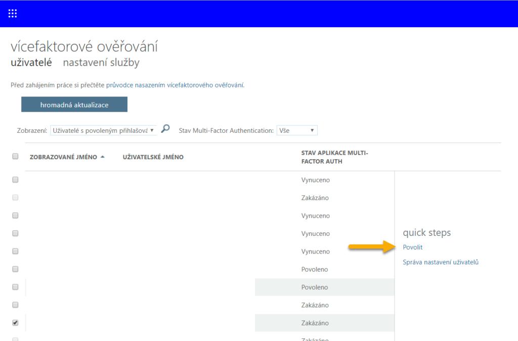 Povolení vícefaktorového ověřování v Office 365