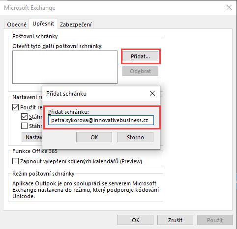 Otevření dalšího mailu k primárnímu účtu Outlooku