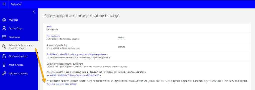 Doplňkové zabezpečení účtu Office 365